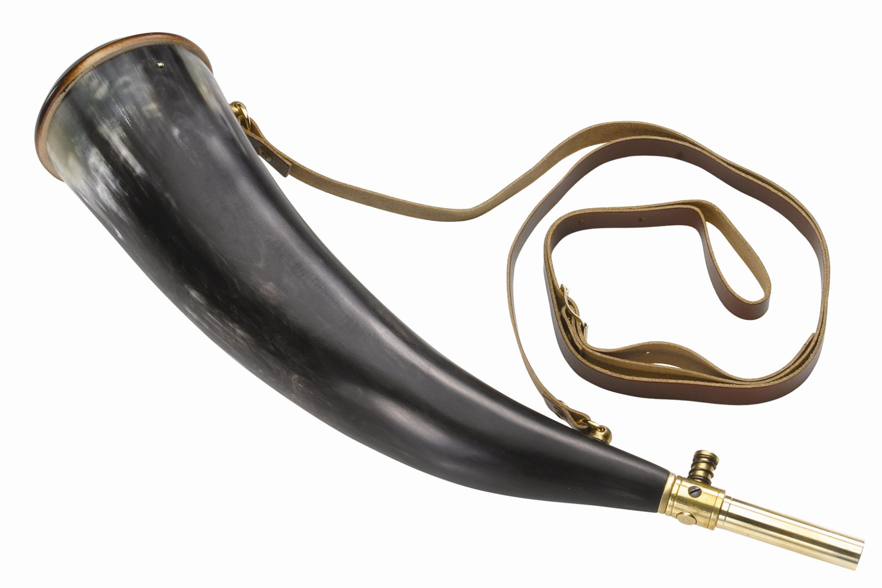 BIG POWDER HORN with shoulder strap